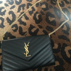 Handbags - YSL chevron wallet on chain